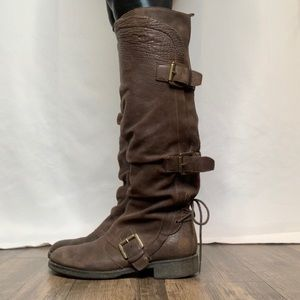 Boutique 9 Buckle and Lace Up Tall Brown Boots